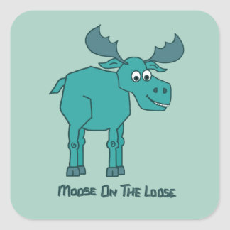 Moose on the Loose Square Sticker