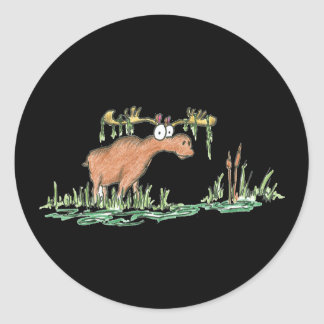 Moose on the loose classic round sticker