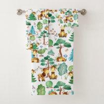 Moose On The Loose Watercolor Pattern Bath Towel Set