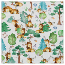 Moose On The Loose Watercolor Pattern Fabric