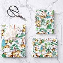 Moose On The Loose Watercolor Pattern Kids Wrapping Paper Sheets