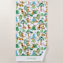 Moose On The Loose Watercolor Pattern Personalized Beach Towel