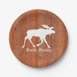 Moose on Weathered Pine Paper Plate