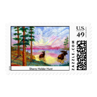 Moose Painting stamp