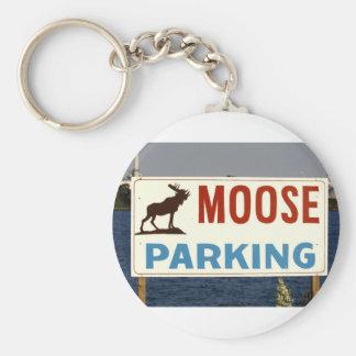 Moose Parking Sign Keychain