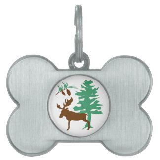 Moose & Pine Tree Pet Tag