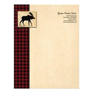 Moose Red Black Check Letterhead