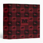 Moose Red Black Plaid 3 Ring Binder