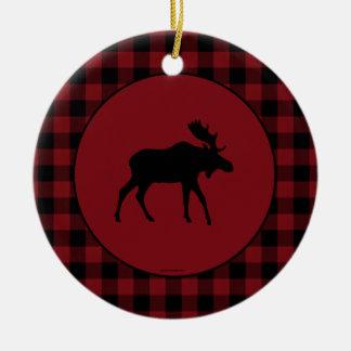 Moose Red Black Round Plaid Border Ceramic Ornament