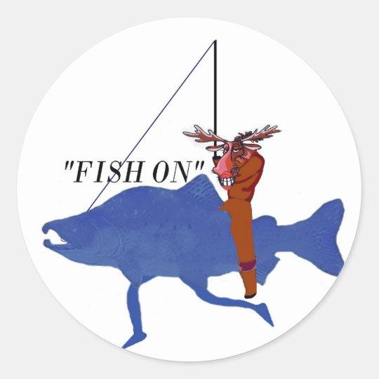 Moose Riding Salmon Classic Round Sticker