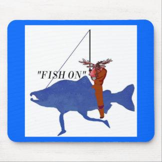 Moose Riding Salmon Mouse Pad