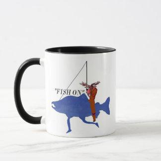 Moose Riding Salmon Mug