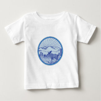 Moose River Flat Mountains Sunburst Circle Mono Li Baby T-Shirt