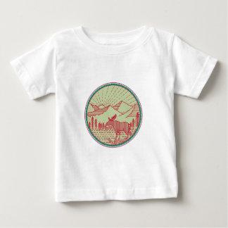 Moose River Mountains Sun Circle Retro Baby T-Shirt