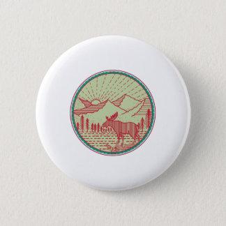Moose River Mountains Sun Circle Retro Button