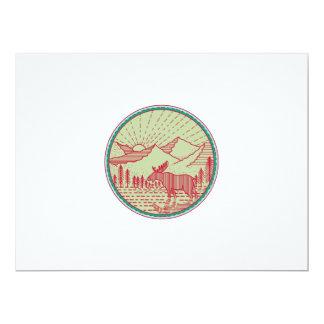 Moose River Mountains Sun Circle Retro Card