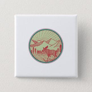 Moose River Mountains Sun Circle Retro Pinback Button