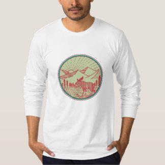 Moose River Mountains Sun Circle Retro T-Shirt