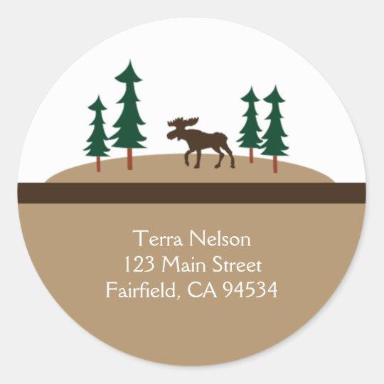 MOOSE Rustic Lodge Return Address Stickers