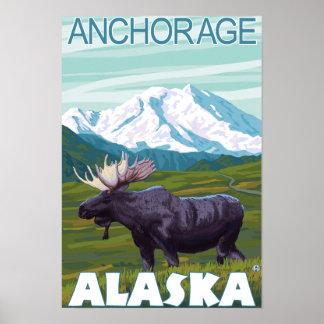 Moose Scene - Anchorage, Alaska Print