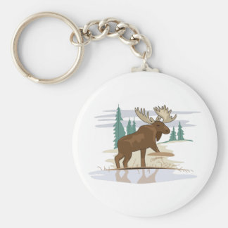 Moose Scene Basic Round Button Keychain