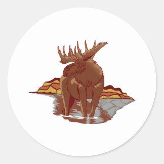 Moose Scene Classic Round Sticker