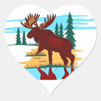 Moose Scene Heart Sticker