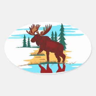 Moose Scene Oval Sticker