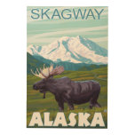 Moose Scene - Skagway, Alaska Wood Prints