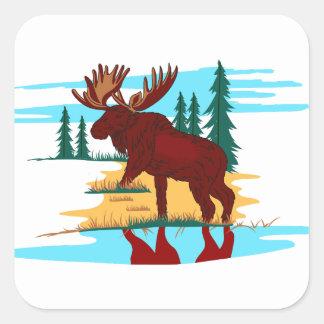 Moose Scene Square Sticker
