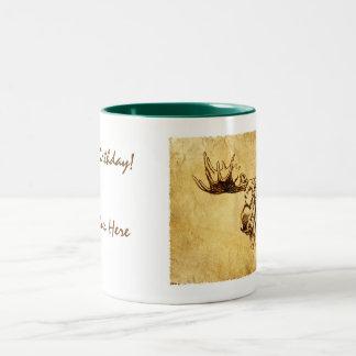 Moose Sepia Drawing on Tan Two-Tone Coffee Mug