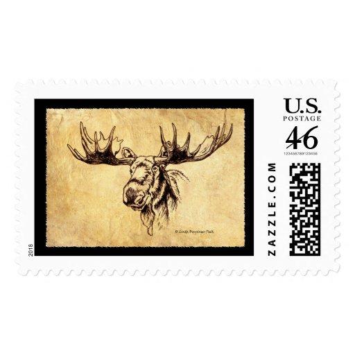 Moose sepia drawing postage