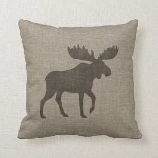 Moose Silhouette Burlap Style Pillow