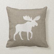 Moose Silhouette Burlap Style Throw Pillow
