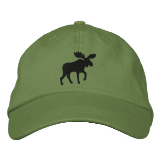 Moose Silhouette (Color Customizable) Embroidered Baseball Hat