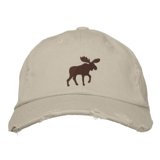 Moose Silhouette (Color Customizable) Embroidered Baseball Caps