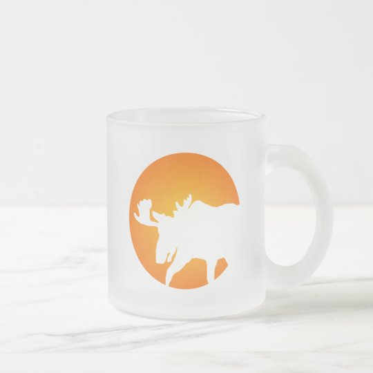 Moose Silhouette Frosted Glass Coffee Mug