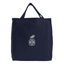 Moose Silhouette with Custom Monogram Embroidered Tote Bag