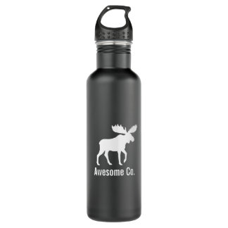 Moose Silhouette with Custom Text Water Bottle