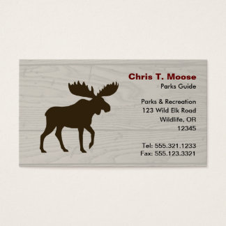 Moose Silhouette with Wood Style Background Business Card