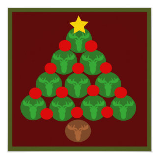 "Moose Silhouettes Christmas Tree Party Invitations 5.25"" Square Invitation Card"