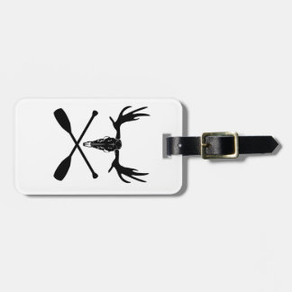 Moose Skull and Crossed Paddles Luggage Tag