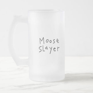 Moose Slayer Frosted Glass Beer Mug