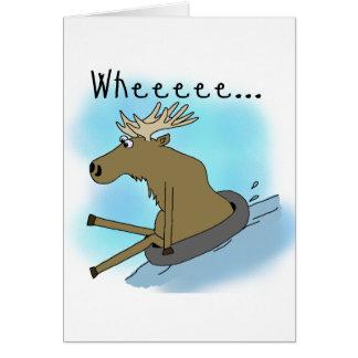 Moose Snow  Tubing Greeting Cards