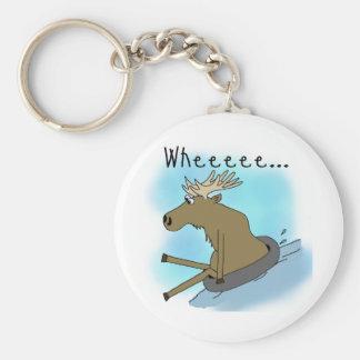 Moose Snow  Tubing Keychain