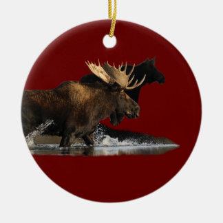moose splash ceramic ornament