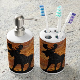 Moose Stance On Bathroom Accessories Soap Dispenser And Toothbrush Holder