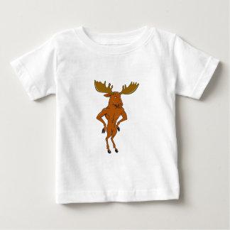 Moose Standing Hands Akimbo Cartoon Baby T-Shirt