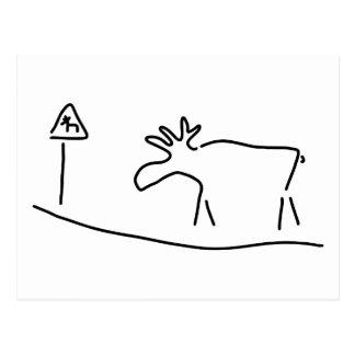 moose Sweden Norway warning Postcard