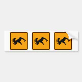 Moose Symbol Yellow Diamond Warning Sign Bumper Sticker